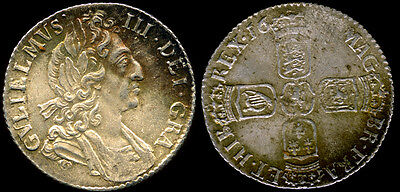 1697 KING WILLIAM III SIXPENCE + ADJUSTMENT MARKS BRITISH SILVER COIN~ Of Orange