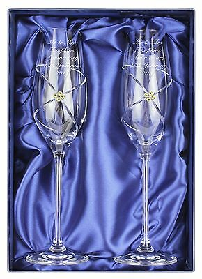 Personalised Pair Of Infinity Glass Champagne Flutes Gold Swarovski Wedding Gift