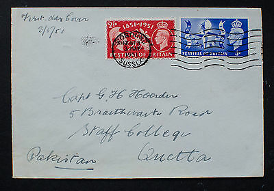 """GB 1951 KGVI """"Festival of Britain"""" First Day Cover to Pakistan"""