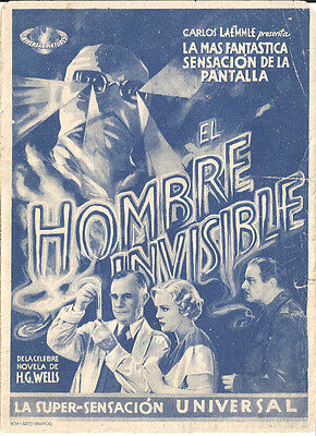 THE INVISIBLE MAN JAMES WHALE CLAUDE RAINS SPANISH Double HERALD MINI POSTER
