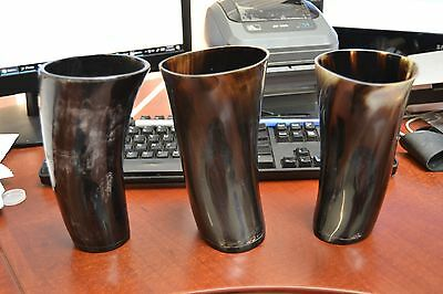 """3 Pcs Black Water Buffalo Horn Game Of Throne Medieval Drinking Cup Mug 7"""" #a"""