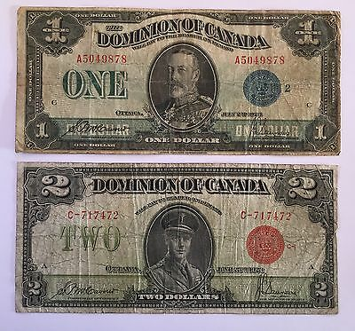 1923 Dominion of Canada $1 And $2 Banknotes