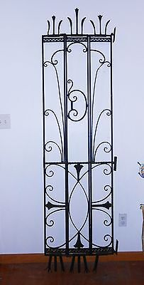 "Vintage Window/door Wrought Iron Security Tri-Fold Gate 23 1/4"" X 87"" Steampunk"
