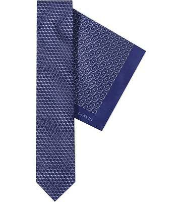 Lanvin Stitch Block Tie & Pocket Square Set Made in France BNWT