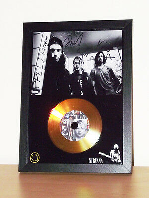 Nirvana Signed Photo Display With Gold Or Silver Disc