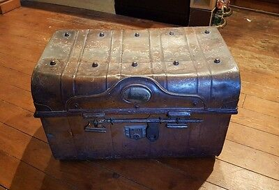 Large Vintage Hand Painted Tin Steamer Travel Trunk Metal Storage Chest Box