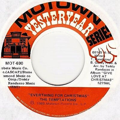 """The Temptations - Silent Night / Everything For Christmas - 7"""" US Vinyl 45 - New"""