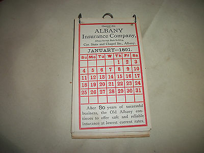 Antique 1891 Albany Insurance Company 80th Anniversary Calendar Alfred P Allen