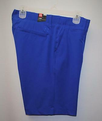 New Womens Size 12 Fitted Under Armour heat gear blue polyester golf shorts