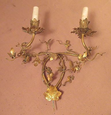 antique French handmade ornate gilt brass leaf vine electric wall sconce fixture