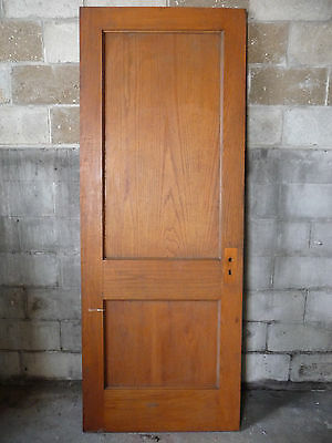Antique Craftsman Style 2 Panel Door - C. 1910 Oak Architectural Salvage