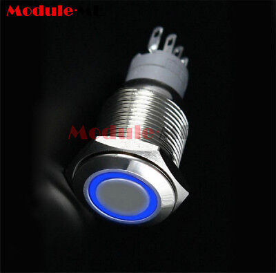 12V 16mm DIY auto Push Power Button LED Angel Eye ON/OF Push-buttons Metal NEW