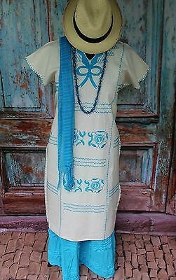 Turquoise & Cream Hand Embroided Huipil with Scarf, Oaxaca Mexico, Hippie Boho