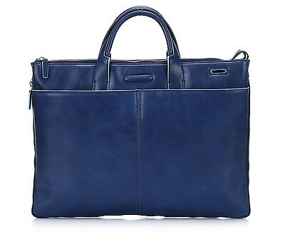 "Piquadro Women's 16"" Leather Slim Expandable Computer Briefcase Travel Bag Blue"