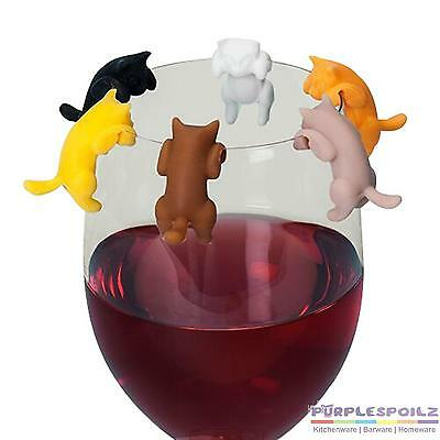 NEW PAWS OFF GLASS MARKERS SET 6 Re-usable Cat Silicone Wine Glass PURPLESPOILZ