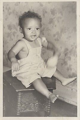 Vintage Photograph of Infant Sittimg on Box