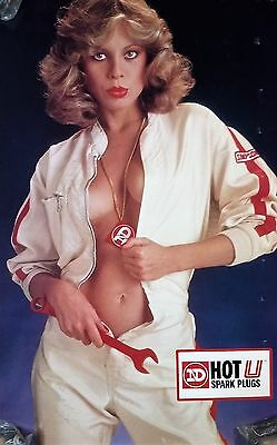 1970's - Autographed - ND Nippondenso Spark Plugs Poster - Blonde - Motorcycles