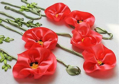 Ribbon Embroidery Kit Red Corn Poppy Needlework Craft Kit RE3103