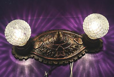 Heavy Antique Flush Mount 2 Light Fixture Hallway Bathroom Light Great!