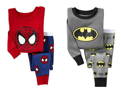 Kids Baby Boy T-shirt Top Pants Spiderman Batman Pajamas Set Sleepwear Clothes