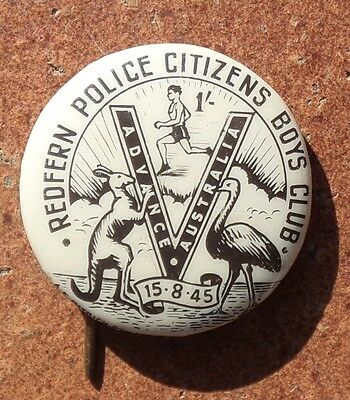 Redfern Police Citizens Boys Club End Of Ww2 Victory Tin  Badge