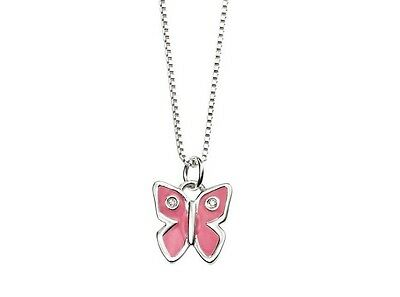 D FOR DIAMOND CHILDS Silver and Diamond Pink Butterfly Pendant P3279