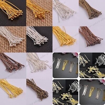 100Pcs Silver Plated Ball Head Eye Pin Jewelry Findings 16/20/30/40/50/60/70MM
