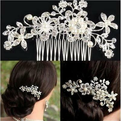 Women Flower Crystal Rhinestone Pearls Diamante Hair Comb Clip Wedding Bridal FW