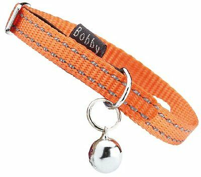 "Bobby ""Safe"" Orange Reflective Cat Collar Pet Safety Release Collar Reflective T"