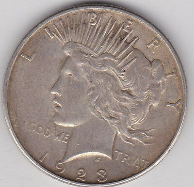 Usa 1923D Silver Peace Dollar In Very Fine Condition