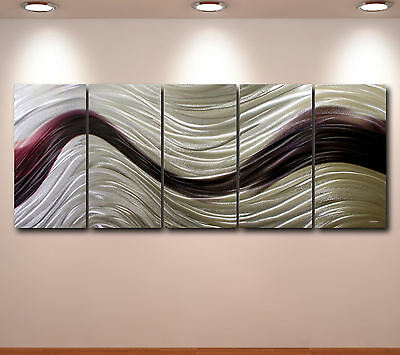 Wall Art Metal Modern Abstract Metal Original painting Contemporary sign silver