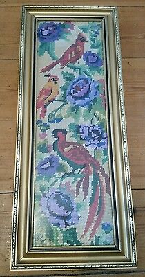 Vintage Framed Cross Stitch Exotic Birds Needlepoint piece