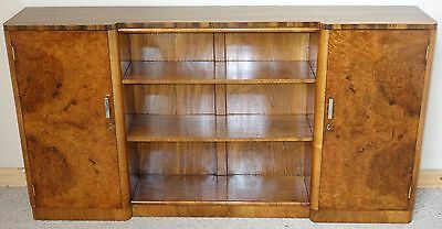 Walnut Art Deco Side Cabinet Bookcase, c.1950 nationwide delivery