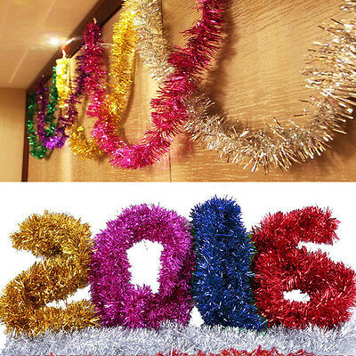 6pcs Colorful Shining 2M Tinsel Garland Christmas Tree Decoration Metallic Foil