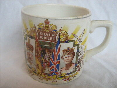 King George V and Queen Mary silver jubilee commemorative mug