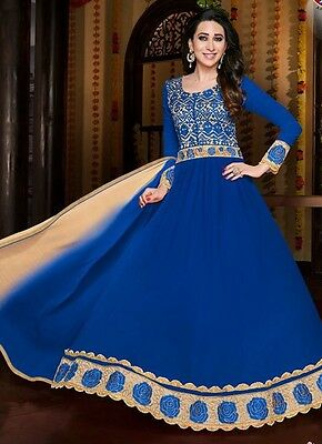 Ready Made indian party wear Royal Blue georgette anarkali/selwer Kameez suit