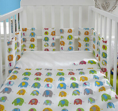 Baroo Ellefunk Bumper Pods and 2 x Cot Coverlets Elephants Set Gift Baby
