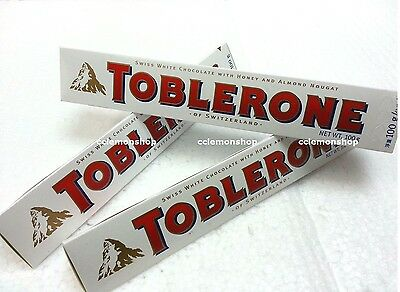 3 x Toblerone Swiss White Chocolate w/ Honey & Almond Nougat 100g 3.52oz snack