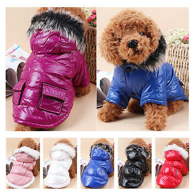 Small Pet Dog Puppy Coat Jacket Winter Warm Padded Hoodie Dress Outfit Apparel