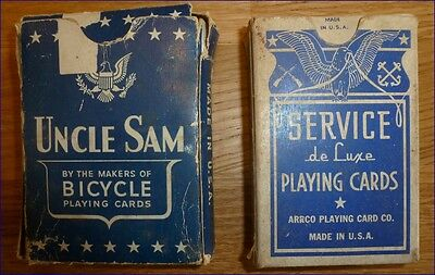 Ancien Jeux Cartes GI Poker UNCLE SAM + SERVICE DE LUXE 1942 WWII Playing Card