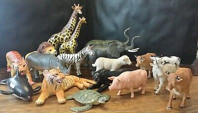 18 ct Mixed Lot Rubber Plastic Animals Safari/African/Zoo & Farm Some AAA