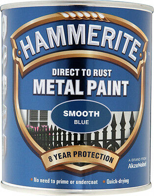 Hammerite - Metal Paint - Smooth Blue - 750ml - Direct To Rust Free Postage