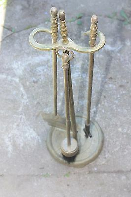 Brass antique fireplace tool set 3pcs..