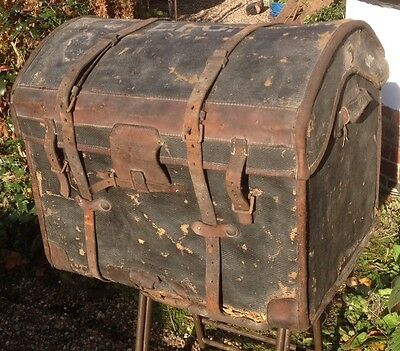 VICTORIAN DOME TOPPED Leather Covered Wicker Chest - Storage FREE P&P # 123
