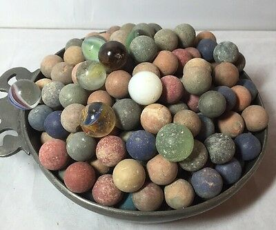 Vintage French Job Lot of Stone, Clay, Glass Marbles Children's Classic Toy Game