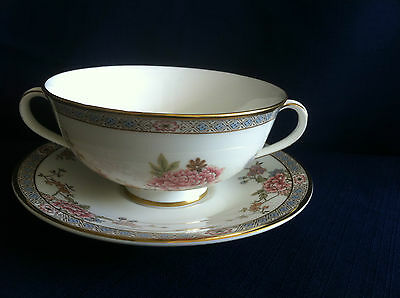 Royal Doulton Canton soup cup & saucer (cup has rough rim in one area)