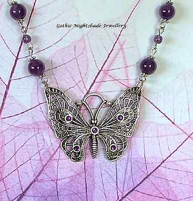 Gothic Butterfly Necklace Silver Amethyst beaded chain Handmade UK