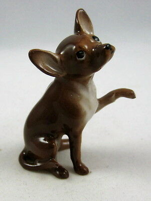Hagen Renaker miniature made in America Chihuahua dog seated brown