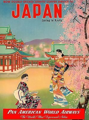 Japan Spring in Kyoto Japanese Vintage Asia Asian Travel Advertisement Poster
