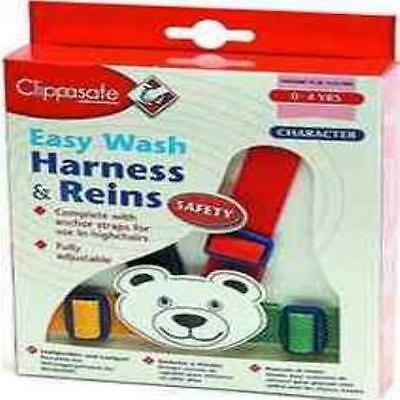 Clippasafe Easy Wash Harness & Reins Multicolour Teddy Child/Toddler Safety New